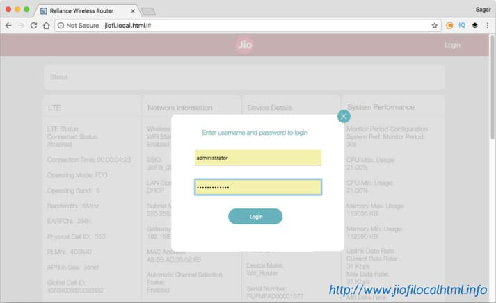 How to login to jiofi router